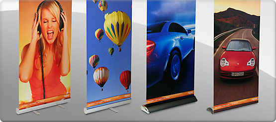 High Impact retractable Roll-up banner stands printed on Ice Satin Fabric